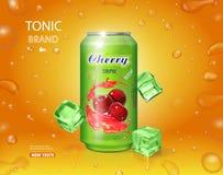 Холодный напиток вишни Консервная банка металла с иллюстрацией вектора знамени 3d рекламы выплеска сока реалистической бесплатная иллюстрация