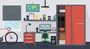 Холодный современный интерьер комнаты подростка с мебелью Стоковые Изображения RF