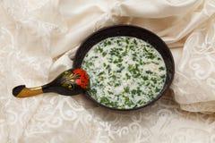Холодный суп огурца с укропом и югуртом Стоковые Фотографии RF