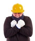 Холод работника терпя при пересеченные рукоятки Стоковая Фотография