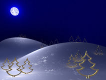 холодная зима ночи Стоковая Фотография RF