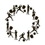холстина Силуэты вектора нарисованные рукой бейсболисты C иллюстрация штока