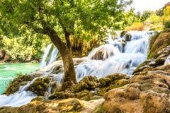 Хорватия Водопад в национальном парке Krka Стоковое Изображение RF