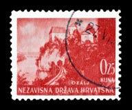 Хорватия на печатях почтового сбора стоковые изображения rf