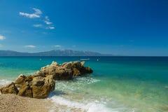 Хорватия пляж предпосылки Далмации, Адриатического моря Стоковое Фото
