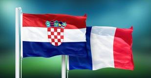 Хорватия - Франция, ВЫПУСКНЫЕ ЭКЗАМЕНЫ кубка мира футбола, России 2018 национальных флагов Стоковые Фото