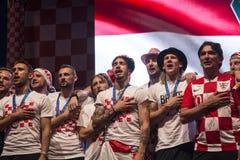 Хорватская команда приходя домой после окончательного ФИФА 2018 кубков мира Стоковые Изображения