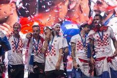 Хорватская команда приходя домой после окончательного ФИФА 2018 кубков мира Стоковое фото RF