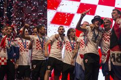 Хорватская команда приходя домой после окончательного ФИФА 2018 кубков мира Стоковые Изображения RF