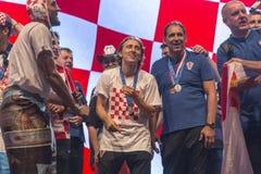 Хорватская команда приходя домой после окончательного ФИФА 2018 кубков мира Стоковое Изображение RF