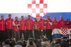Хорватская команда тенниса на радушном домашнем торжестве стоковое фото rf