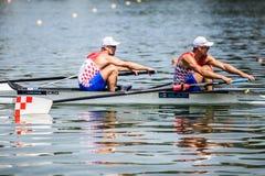 Хорватские спортсмены на rowing конкуренции чашки мира гребя Стоковые Изображения
