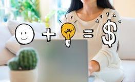 Хорошая идея приравнивает деньги с женщиной используя ее ноутбук стоковая фотография