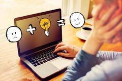 Хорошая идея приравнивает счастливое с человеком используя ноутбук стоковое фото rf