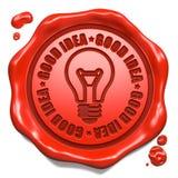 Хорошая идея - штемпель на красном уплотнении воска. иллюстрация вектора