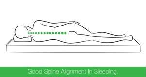 Хорошее выравнивание позвоночника в спать Стоковые Фотографии RF