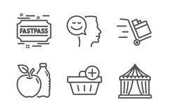 Хорошее настроение, Яблоко и набор значков приобретения Add Тележка нажима, шатер Fastpass и цирка знаки r иллюстрация штока