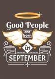Хорошие человеки рождены в сентябре Иллюстрация штока