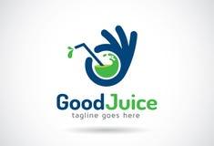 Хороший вектор дизайна шаблона логотипа сока, эмблема, идея проекта, творческий символ, значок стоковое изображение