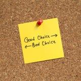 Хороший выбор или плохая отборная дирекционная бумага знака Стоковые Изображения RF