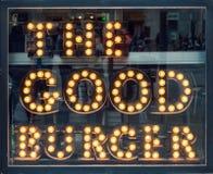 Хороший знак кафа света бургера Стоковая Фотография RF