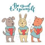 Хороший к себе поздравительная открытка, милые животные Стоковые Изображения