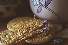 Хороший чай с травами и печеньями в кухне Стоковые Фотографии RF