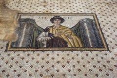 Хорошо сохраненная мозаика показывая женщину на месте Haleplibache в Sanliurfa в Турции Стоковые Изображения