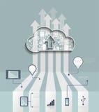 Хостинг облака Заволоките вычисляя концепция с значком, социальной группой сети Стоковая Фотография