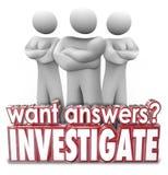Хотеть ответы расследуйте пересеченные оружия людей слов 3d серьезные Стоковая Фотография RF