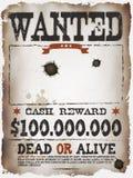 Хотят винтажный западный плакат Стоковое фото RF