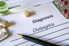 Холангит диагноза написанный в диагностической форме стоковое изображение