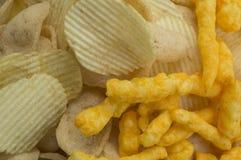 Холестерол картофельной стружки тучный посолил концепцию фаст-фуда старья Стоковые Изображения RF