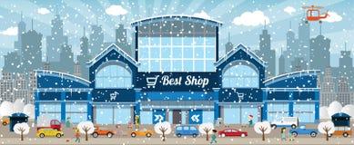 Ходить по магазинам в городе (зима) Стоковые Изображения