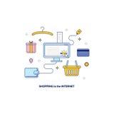 Ходить по магазинам в знамени интернета Стоковая Фотография RF