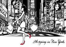 Ходить по магазинам в Таймс площадь - Нью-Йорке иллюстрация вектора