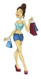 Ходить по магазинам сексуальной девушки идя Стоковые Изображения RF