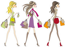 ходить по магазинам девушок способа мешков Стоковая Фотография RF