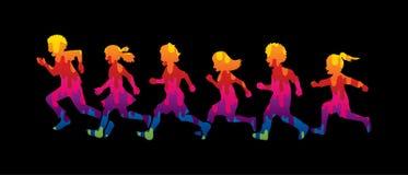 Ход мальчика и девушки, группа в составе бежать детей иллюстрация вектора