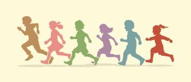 Ход мальчика и девушки, группа в составе бежать детей бесплатная иллюстрация
