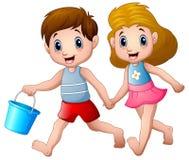 Ход мальчика и девушки шаржа Стоковые Изображения