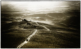холмистая дорога ландшафта Стоковые Изображения RF