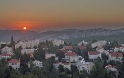 Холмы Иерусалима на заходе солнца Стоковое Изображение