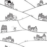 Холмы и дома иллюстрация вектора