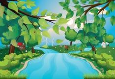 Холмы и река Стоковое Изображение