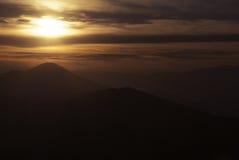 холмы над заходом солнца Стоковая Фотография RF