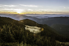 холмы над заходом солнца Стоковое Изображение RF