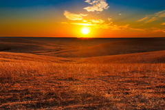 Холмы огнива захода солнца Канзаса Стоковая Фотография RF