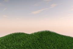 Холмы поля травы и открытое небо Стоковое Изображение