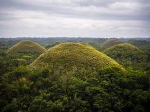 Холмы шоколада в острове Bohol, Филиппинах Стоковые Фото